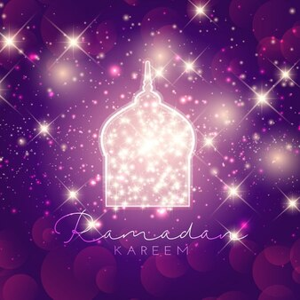 Decorative ramadan kareem background with glowing stars