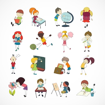 Decorative reading learning singing and playing football school children with backpack doodle sketch vector illustration