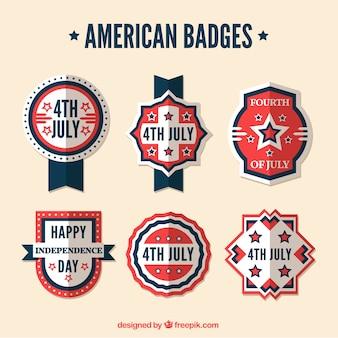 Decorative retro american badges in flat design