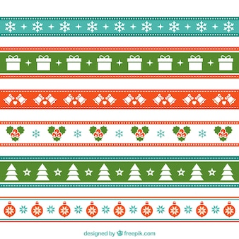 Decorative ribbons with christmas elements