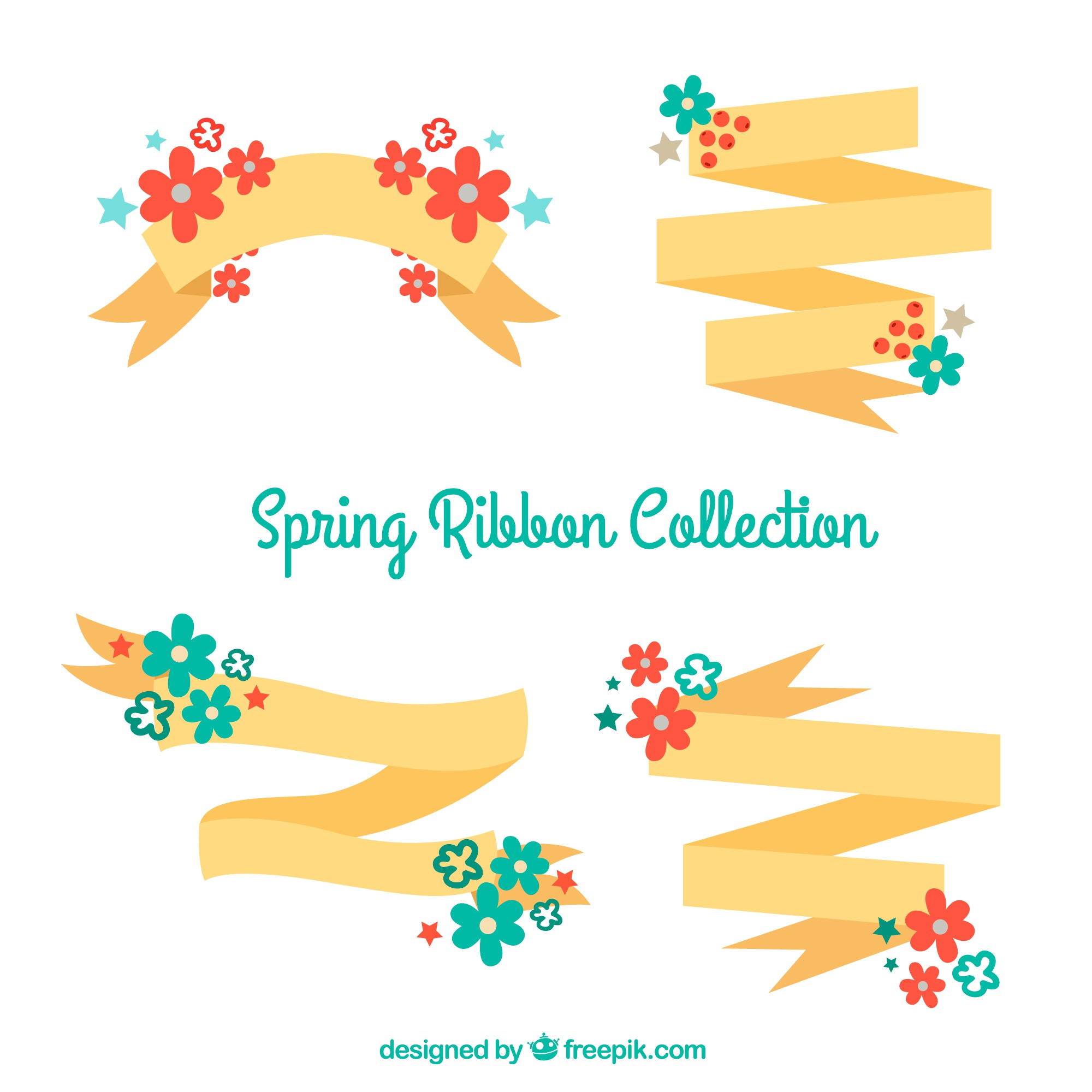 Decorative ribbons with red and blue flowers for spring