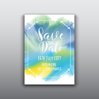 Decorative save the date template with watercolor design