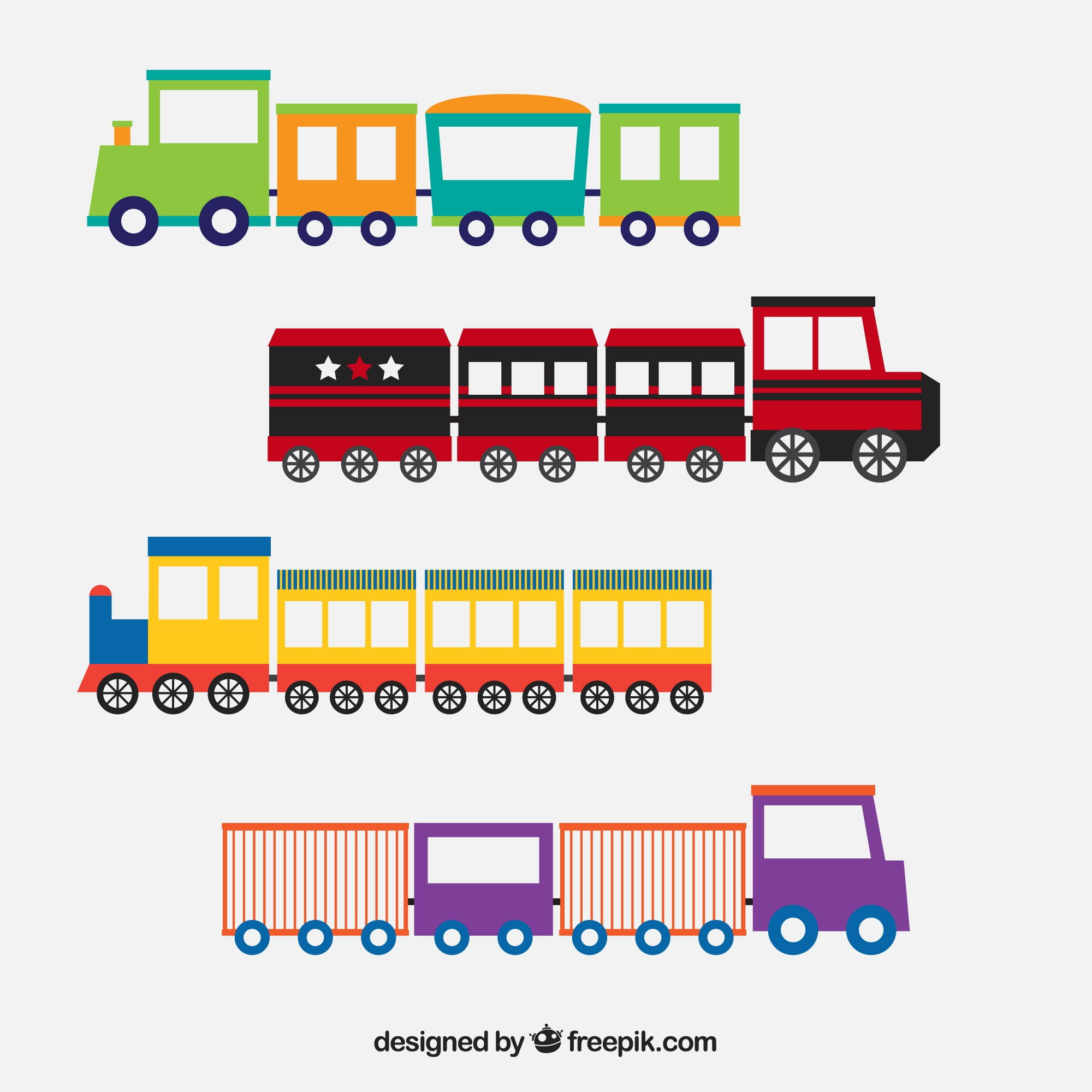 Decorative selection of toy trains in flat design