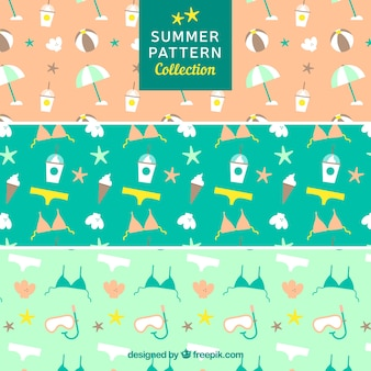 Decorative set of summer patterns with flat items