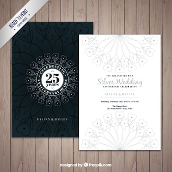 Decorative silver jubilee invitation