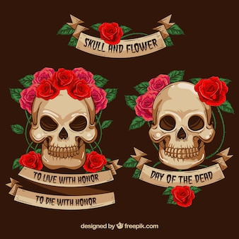 Decorative skulls with flowers and ribbons
