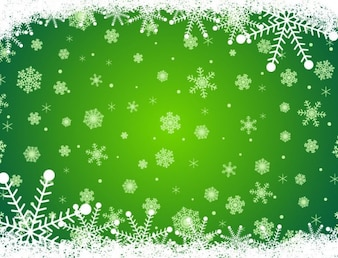 Decorative snowflake green background