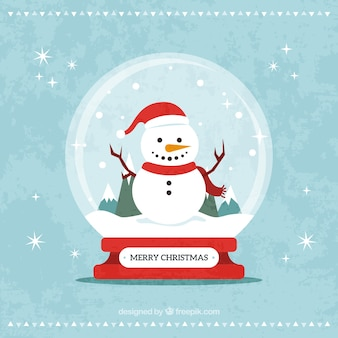 Decorative snowglobe christmas card with snowman