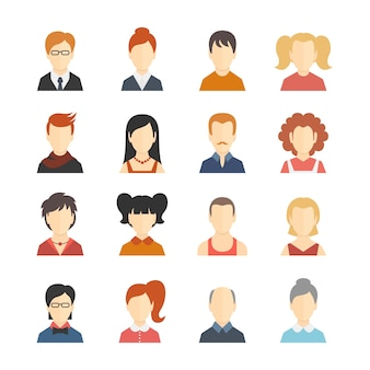 Decorative social media business blog users profile avatar trendy hairstyle design icons collection isolated flat vector illustration