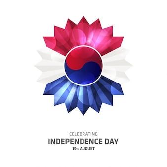 韓国のトライカラーフラワー独立記念日テンプレート