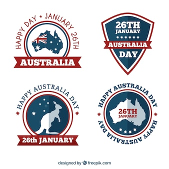 Decorative stickers for australia day with red details