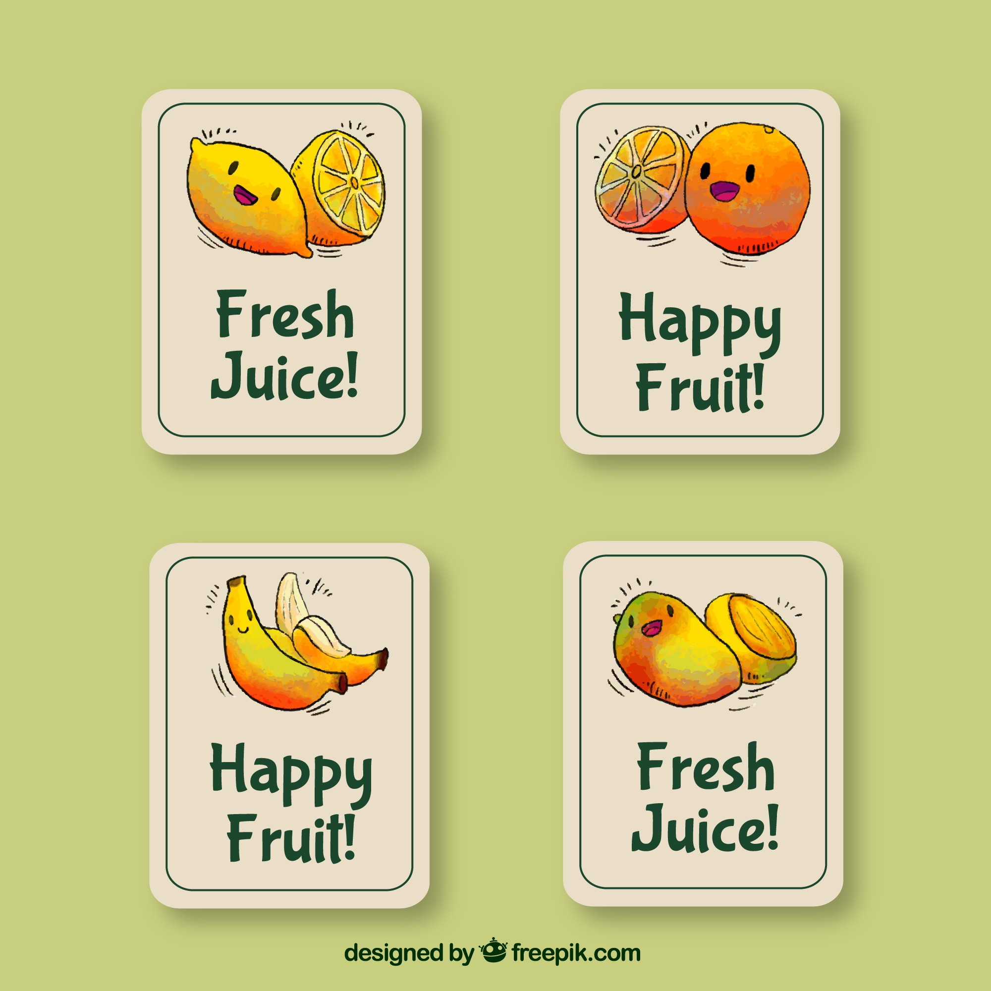 Decorative stickers with smiling fruit characters
