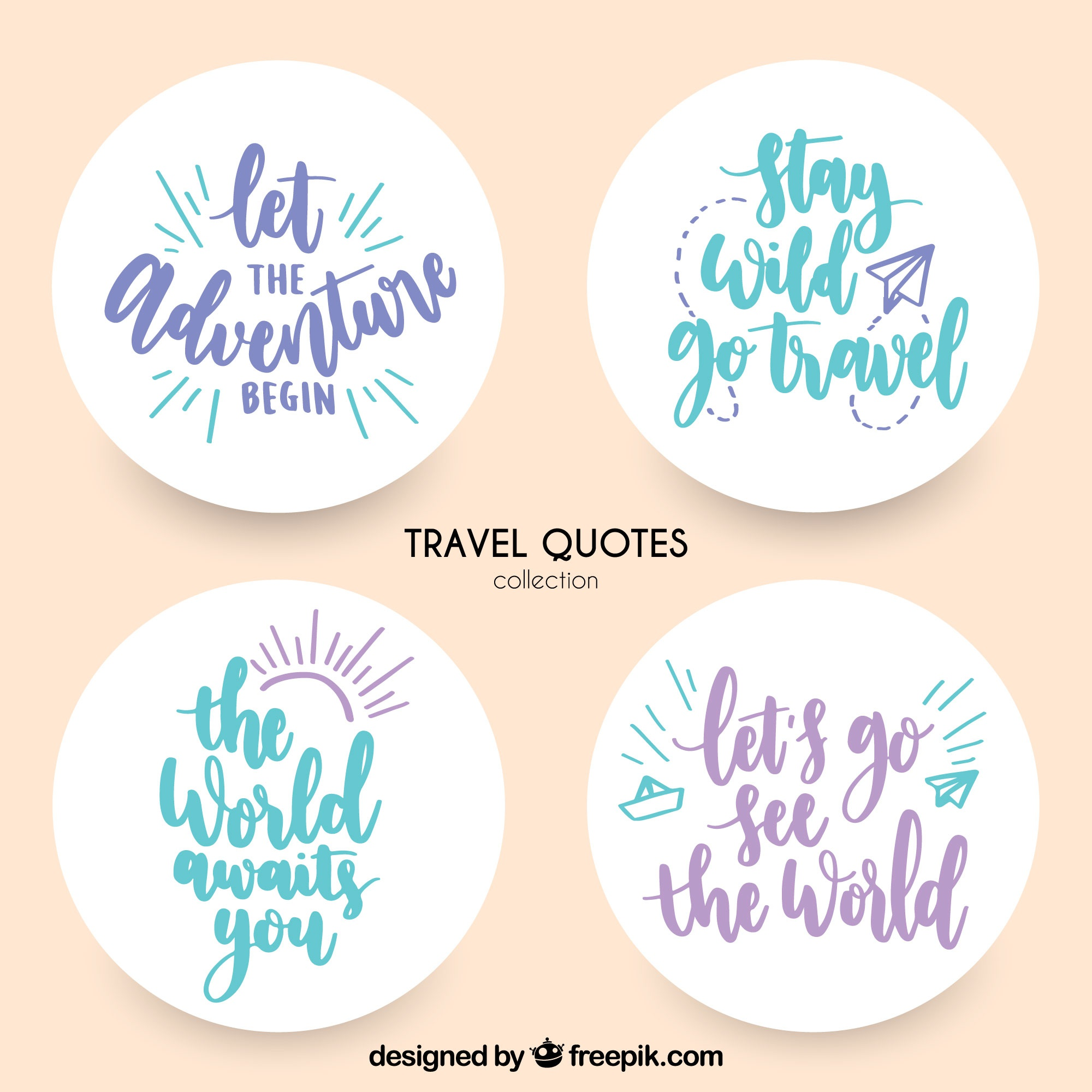 Decorative stickers with travel messages