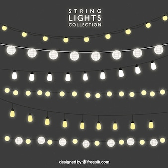 Background with shiny lightbulbs Vector Free Download