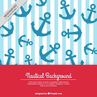 Decorative striped background with blue anchors