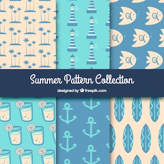 Decorative summer patterns with marine items