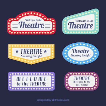 Decorative theater signs with different colors