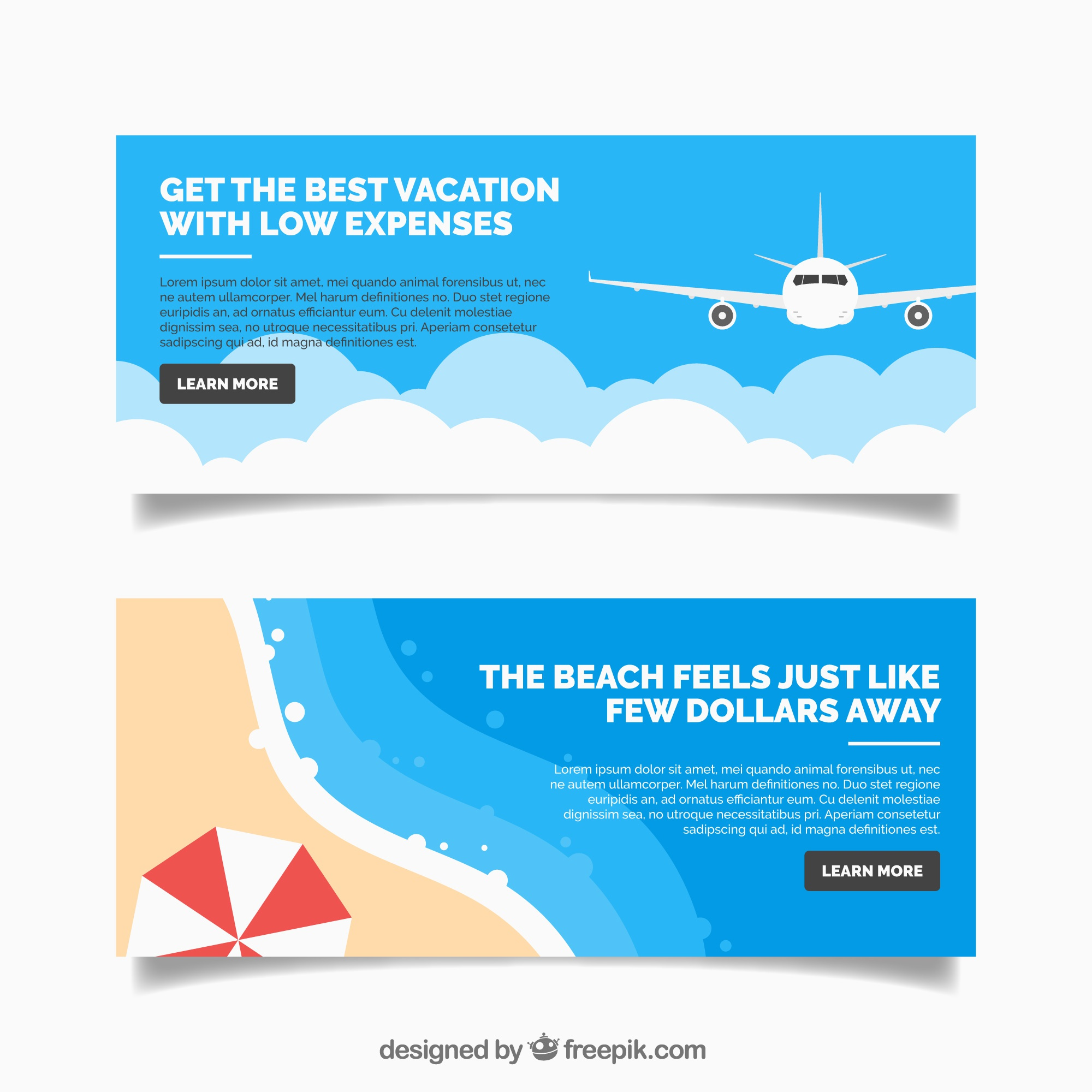 Decorative travel banners in flat design