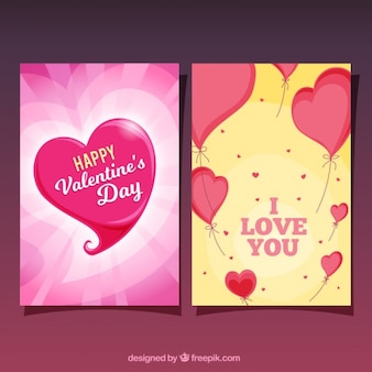 Decorative valentine's day cards with hearts