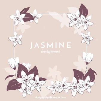 ジャスミンと装飾的なヴィンテージフレームの背景