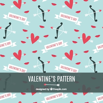 Decorative vintage valentine pattern with heart and bow