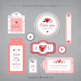 Decorative vintage valentine stickers