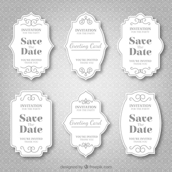 Decorative vintage wedding badge collection