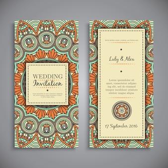 Decorative vintage wedding invitation in mandala style
