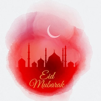 Decorative watercolor eid mubarak background