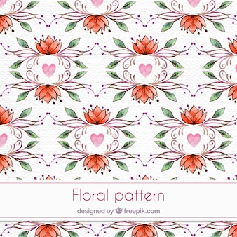 Decorative watercolor floral pattern in vintage style