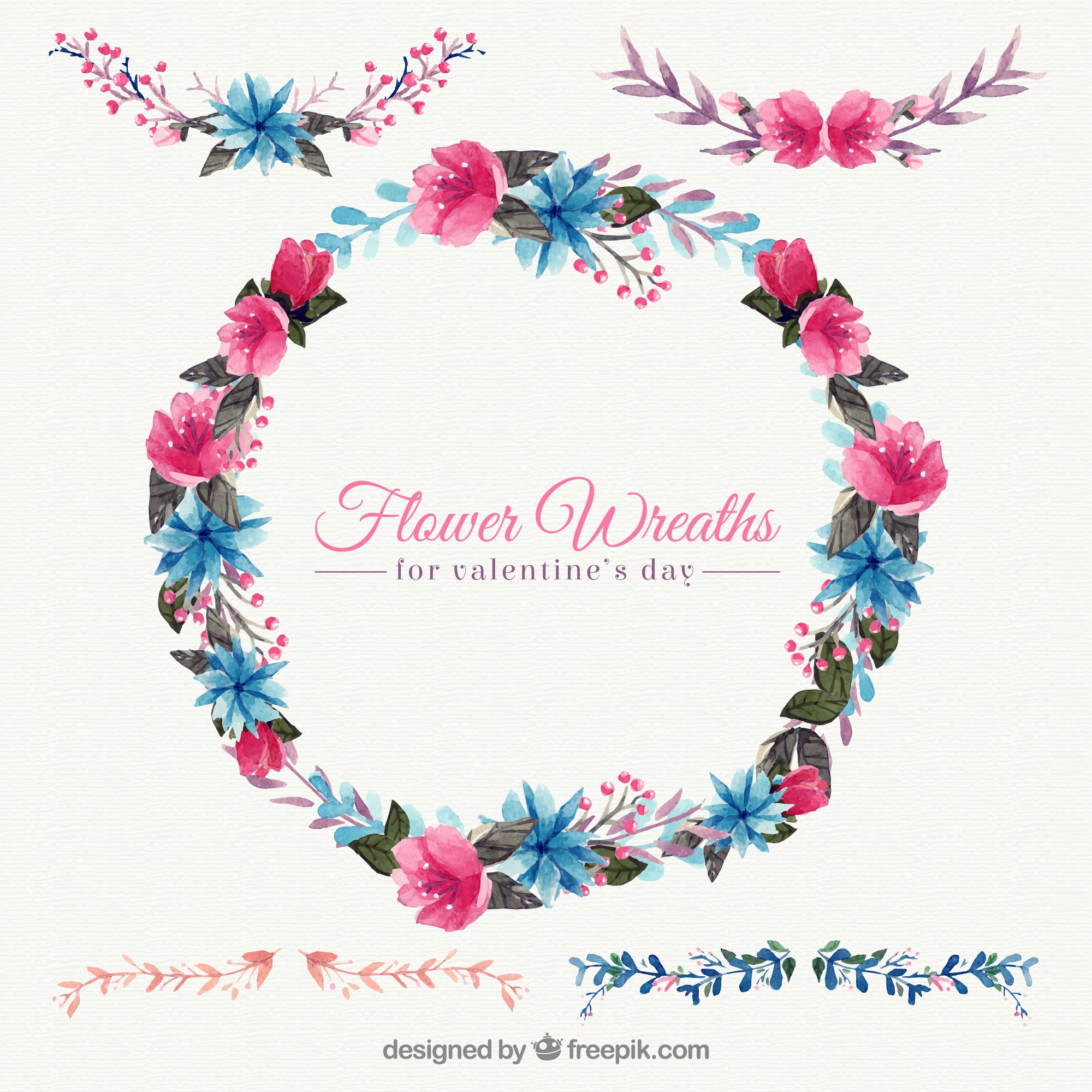 Decorative watercolor floral wreath