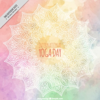 Decorative watercolor yoga day background with hand drawn mandala