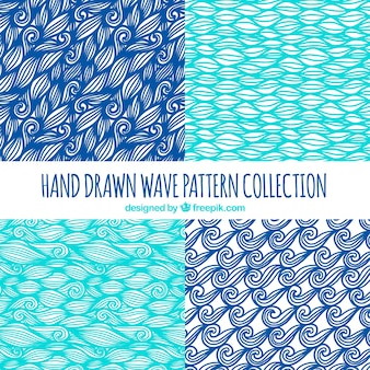 Decorative wave patterns with hand-drawn shapes