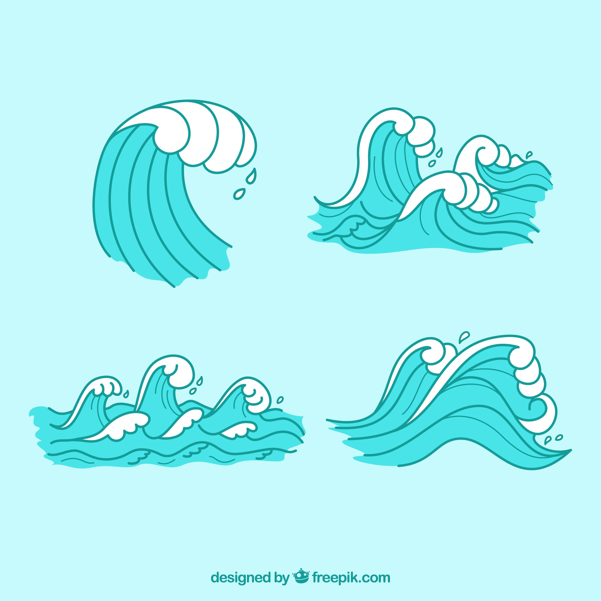 Decorative waves with white details