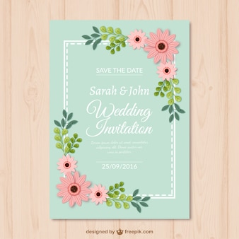 Decorative wedding card with flowers