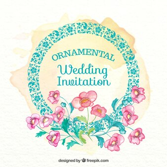 Decorative wedding card with watercolor flowers