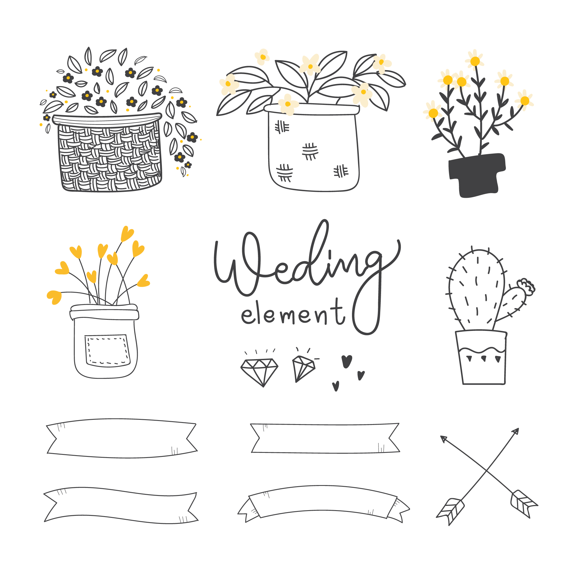 Decorative wedding elements collection