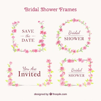 Decorative wedding frames with pink flowers