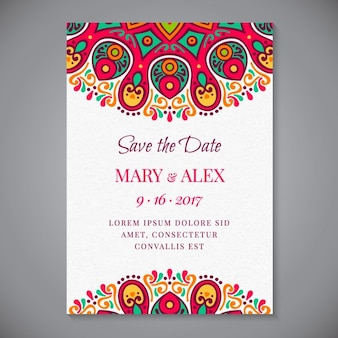 Decorative wedding invitation of abstract forms