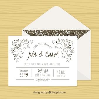 Decorative wedding invitation with hand-drawn elements