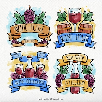Decorative wine stickers in watercolor style