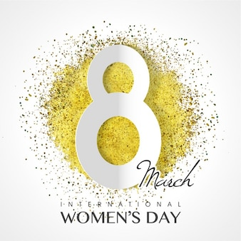 Decorative women's day background with golden confetti
