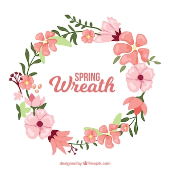 Decorative wreath with pink flowers