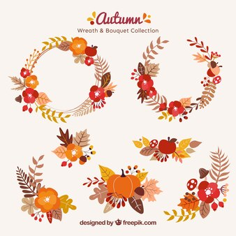 Decorative wreaths with forest elements