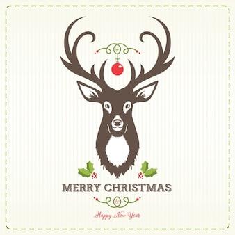 Deer head christmas background