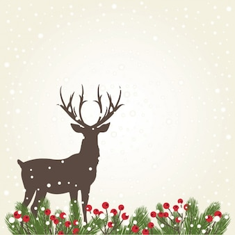 Deer silhouette background with snow