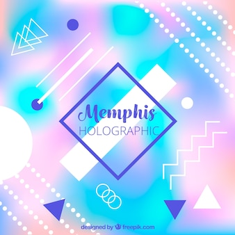 Defocused holographic background with memphis shapes