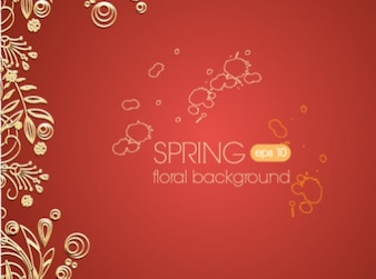 Delicate minimal floral red background