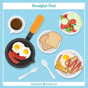 Delicious beakfast in flat design