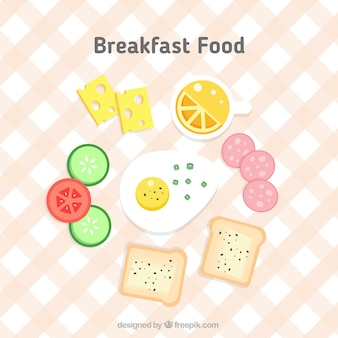Delicious breakfast food in flat design